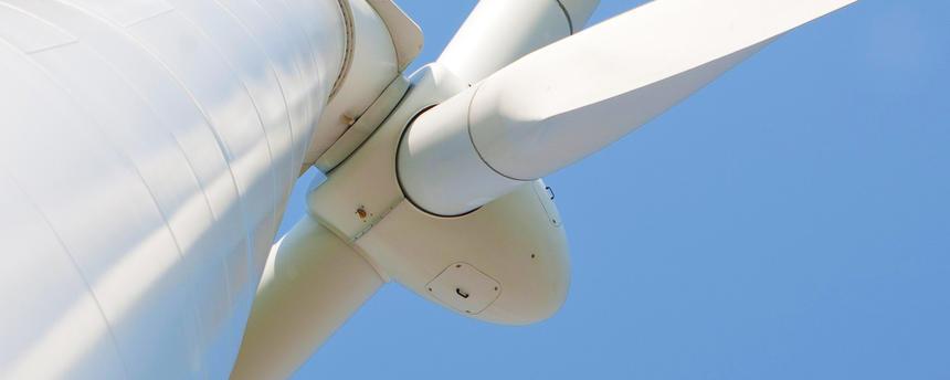 Closeup shot of a wind turbine